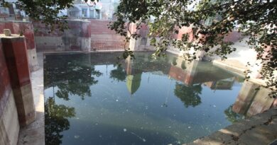 Channel feeding the water bodies covered with encroachments